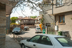 The entrance to the historical part of Pomorie, Bulgaria. Pomorie - ancient Bulgarian seaside town famous discoveries of ancient Slavic settlements. Located on stock photography