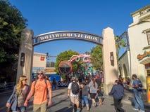 Entrance to Hollywood Studios at Disney California Adventure Park. ANAHEIM, CALIFORNIA - FEBRUARY 15: Entrance to Hollywood Studios at Disney California Royalty Free Stock Photo