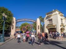 Entrance to Hollywood Studios at Disney California Adventure Park. ANAHEIM, CALIFORNIA - FEBRUARY 15: Entrance to Hollywood Studios at Disney California Stock Photography