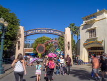 Entrance to Hollywood Studios at Disney California Adventure Park. ANAHEIM, CALIFORNIA - FEBRUARY 15: Entrance to Hollywood Studios at Disney California Stock Image