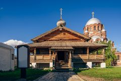 Entrance to the Holy Trinity Church in Sviyazhsk. Entrance to the Wooden Holy Trinity Church of John the Baptist Monastery in City-Island Sviyazhsk, Russia royalty free stock photos