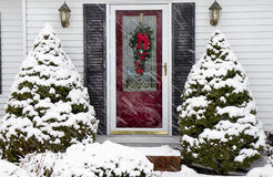 Entrance to Home in Snow Storm Stock Photos