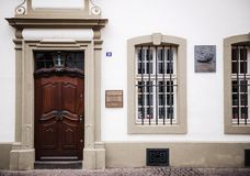Entrance to the house were Karl Marx, the German philosopher,. TRIER, GERMANY - FEB 21, 2015: Entrance to the house were Karl Marx, the German philosopher Stock Image