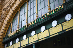 Flinders Street Station, Melbourne, Australia. The entrance to the iconic railway station in Melbourne Stock Image