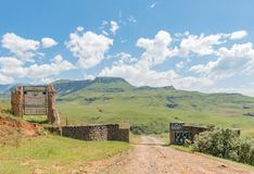 Entrance to Injisuthi in Giants Castle section, Maloti Drakensbe. INJISUTHI, SOUTH AFRICA - MARCH 19, 2018: The entrance gate to Injisuthi in the Giants Castle Royalty Free Stock Photography