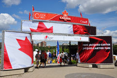 Entrance to Jacques-Cartier Park on Canada Day Royalty Free Stock Photos