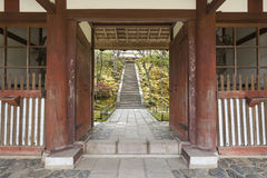 Entrance to Japanese garden. In Arashiyama, Kyoto, Japan Royalty Free Stock Photo
