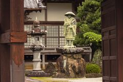 Entrance to Japanese shrine and Zen garden. Fukuoka, Japan. royalty free stock images