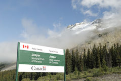 Entrance to Jasper National Park in Canada Royalty Free Stock Images