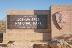 Joshua tree national park california entrance stock images