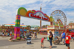 Entrance to Kiddie Land at the Indiana State Fair in Indianapoli. Entrance to Kiddie Land and rides on the Midway of the Indiana State Fair on August 12, 2012 Royalty Free Stock Photography