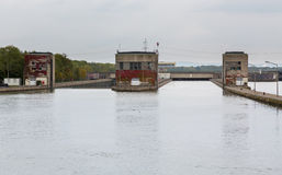 Entrance to large lock on River Danube Royalty Free Stock Photo