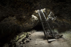 Entrance to Lava Tubes. The entrance to Lava Tubes at Lava Beds in California, USA Stock Images