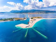 Entrance to the Lefkada Port and Beach birds eye view in Lefkada. Island Greece Royalty Free Stock Images
