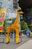 Entrance to the Legoland in Sony Center from Berlin, Germany. Giraffe made of lego pieces in front of the entrance of Legoland, Berlin, Germany Stock Photography