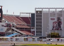 Entrance to Levi's stadium and seating. The new San Jose 49er's stadium, Levi Stadium, where the 49er's will play in 2014 Royalty Free Stock Photography