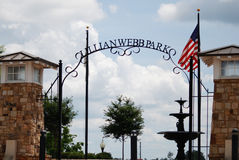 The entrance to Lillian Webb Park in Norcross, Georgia. Royalty Free Stock Image