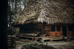Entrance to log building in Norway, rustic wooden house with str Stock Photos