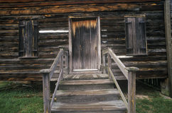 Entrance to log cabin in historic Camden, SC Royalty Free Stock Photo