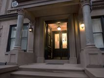 Entrance to a luxury residential building. With lights on in Manhattan New York Royalty Free Stock Photography