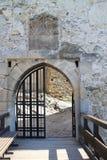 Entrance to main building of Trečín castle Stock Photos