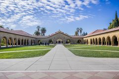 Entrance to the Main Quad at Stanford University; Memorial Church in the background stock images