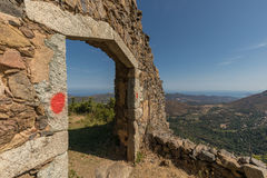 Entrance to maison du bandit near Feliceto in Corsica Stock Photo