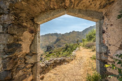 Entrance to maison du bandit near Feliceto in Corsica Royalty Free Stock Photography