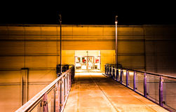 Entrance to a mall at night in Columbia, Maryland. Entrance to a mall at night in Columbia, Maryland Stock Photos