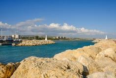 Entrance to the marina at Zygi, Cyprus Stock Photo