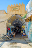 The entrance to the market Stock Image