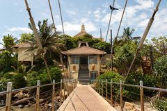 Entrance to Matara Parevi Duwa buddhist temple, Sri Lanka stock image