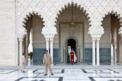 Guards in front of Mausoleum Mohammed V, Rabat, Morocco stock photos