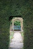 Entrance to maze through hedge. Natural arch doorway entrance in hedge in ornamental garden with bench in background Stock Photo
