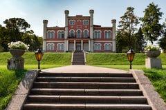 Entrance to medieval castle near Birini town in Latvia Stock Photo
