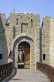 Entrance to medieval fortress restoration. Entrance to medieval fortress of Suceava restoration Royalty Free Stock Photo