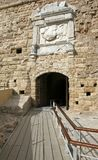 The entrance to the medieval Venetian fortress Koules. stock photos