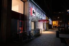 Entrance to Mega Image store from Magheru boulevard stock image