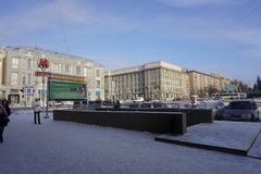 Entrance to the metro city of Novosibirsk royalty free stock images