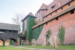 Entrance to middle castle in Malbork in Poland royalty free stock images