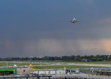 Entrance to Milan Linate, which services short and medium-range destinations in Europe and is Alitalia`s hub. Milan, Italy - Sept 17, 2017: Entrance to Milan Royalty Free Stock Image