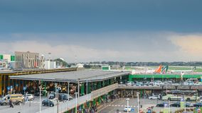 Entrance to Milan Linate, which services short and medium-range destinations in Europe and is Alitalia`s hub. Milan, Italy - Sept 17, 2017: Entrance to Milan Stock Photo