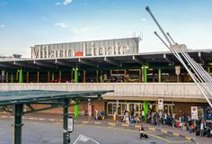 Entrance to Milan Linate, which services short and medium-range destinations in Europe and is Alitalia`s hub. Milan, Italy - Sept 17, 2017: Entrance to Milan Royalty Free Stock Images