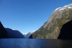Entrance to Milford Sound from the sea, New Zealand royalty free stock photography
