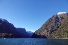 Entrance to Milford Sound from Tasmansea, New Zealand stock photo