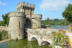 Entrance To The Moated Castle La Clayette Stock Photo