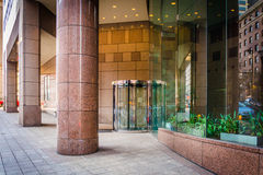 Entrance to a modern building in downtown Baltimore, Maryland. Stock Images