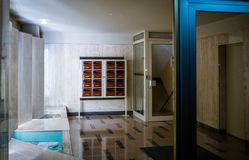 Entrance to modern vintage apartment building foyer lobby royalty free stock photography