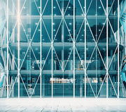 Entrance to the modern vitreous business center Royalty Free Stock Images