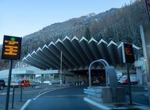 The entrance to the Mont Blanc tunnel on the French side stock photos